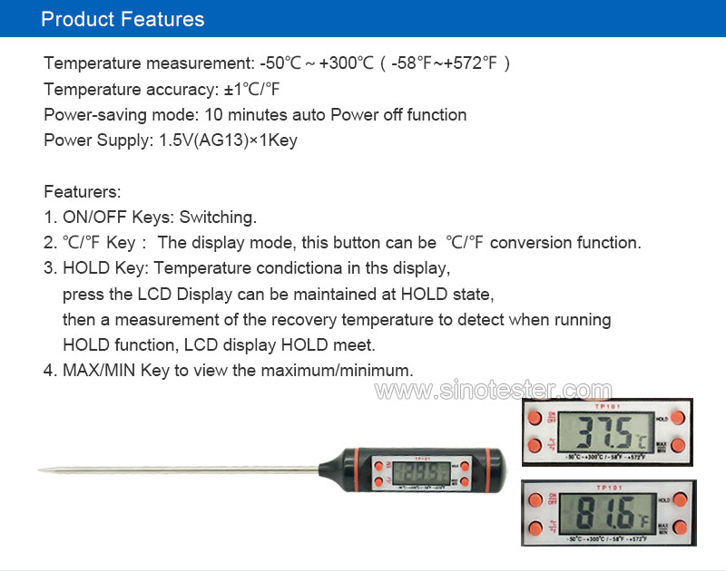 TP-300 LCD Digital Household Kitchen Food Water Thermometer Probe Type